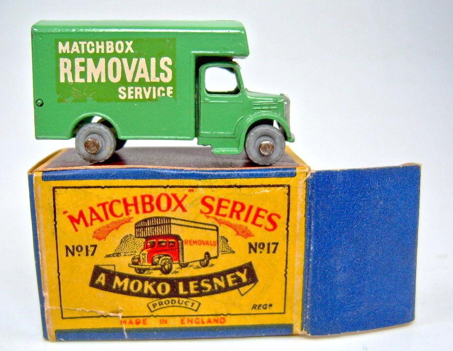Matchbox RW 17a removal van verde claro en  moko  box