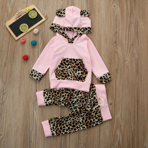 New Newborn Baby Girl Leopard Print Hoodie Top+Long Pants Outfits Clothes Set AB