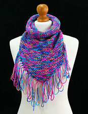 Hand knit pink funnel neck scarf - hand made item