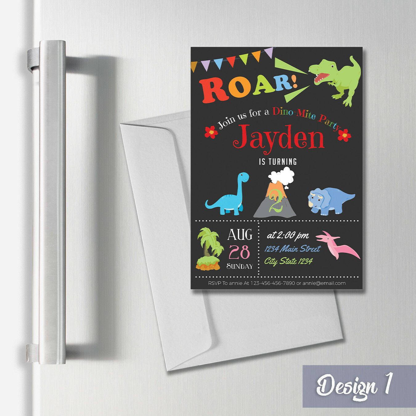 Personalised Magnetic Dinosaur Party Invitations Thank You Cards