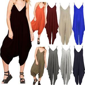 ST015-Celeb-Girl-Lagenlook-Cami-Strappy-Baggy-Harem-Jumpsuit-Playsuit-Dress-Top