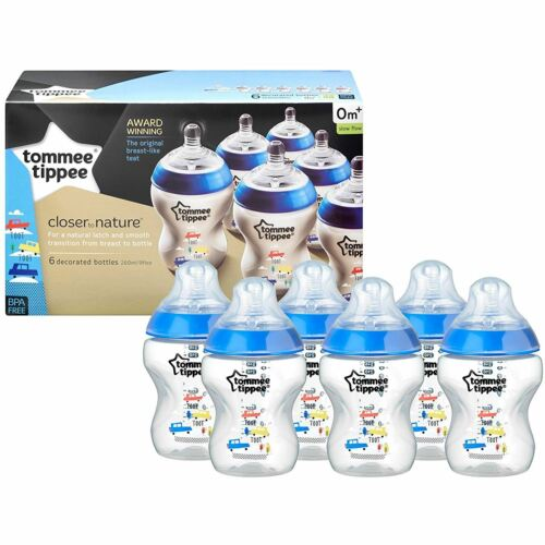 6 x mee Tippee Baby Feeding Bottles Closer to Nature 260ml 9oz Decorated Blue