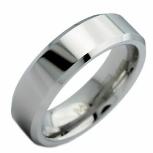 6mm White Tungsten Carbide Mirror Polished With Beveled Edges Wedding Band Ring