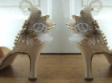 "Bridal Gold Pheasant Peacock Feathers + Vintage Lace + Veil ""Cia"" Shoe Clips"