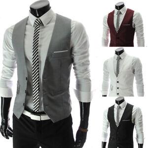 Détails sur HOT formelle Men's Dress Slim Fit Costume Débardeur Col V Gilet Business Casual Manteau afficher le titre d'origine