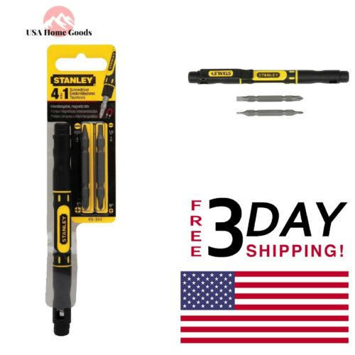 STANLEY Pocket Screwdriver 4 in 1 Double Tipped Bits Magnetic Hand Tools