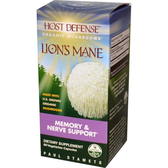 FUNGI PERFECTI HOST DEFENCE LION'S MANE ORGANIC MUSHROOMS LIONS MEMORY NERVE