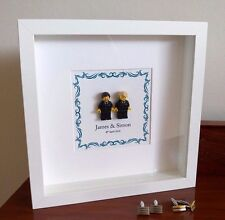 Unique personalised LEGO same sex (male) Wedding / Anniversary gift frame AFOL