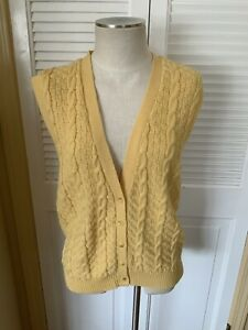 Pendleton-V-Neck-Sweater-Vest-Womens-Sz-S-Yellow-Cable-Knit-USA-100-Virgin-Wool