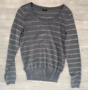 Ann-Taylor-Grey-Stripe-Jumper-Size-M-Merino-Wool-Blend-Long-Sleeves-Round-Neck