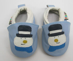 11dcebc5d Details about Baby Boys Girls Soft soled Leather Shoes Blue Snow Man  snowman first Christmas