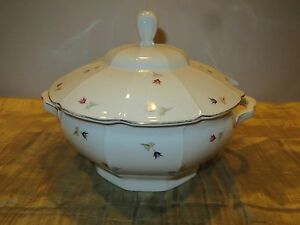 "Vintage PA Arzberg Baveria Soup Tureen Floral & White 11"" Porcelain"