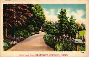 Vintage Postcard - Greetings From Stafford Springs Connecticut Posted 1948 #1931