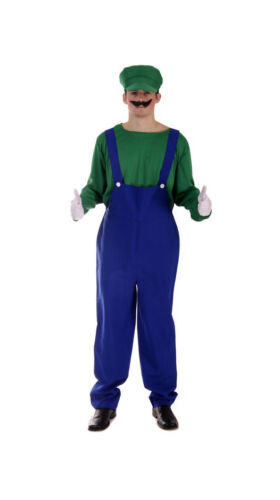 Adult Super Plumber Bros 80s Video Game Fancy Dress Workman Costume Mens Stag do