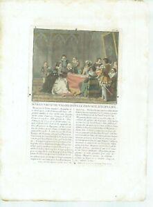 17TH OLD PRINT ANTIQUE ORIGINAL COLOR GRAVURE MARGUERITE VALOIS INQUISTION 1787