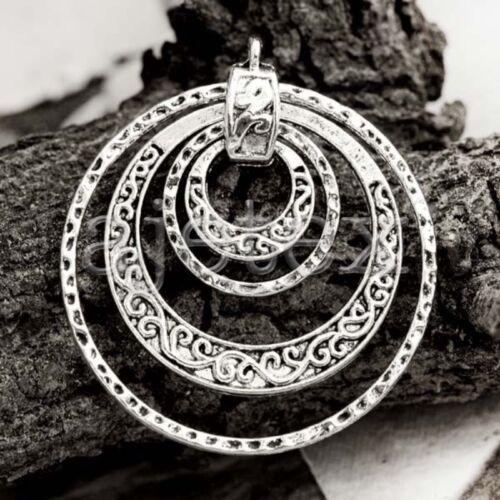3stk Metall Armband Anhänger Charm Tibetisches Silber Flach Rund 49x45x2.5mm