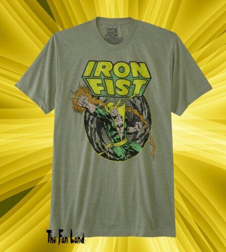 New Marvel Comics Iron Fist Mens Green Vintage T-Shirt