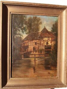 Moulin-a-eau-HUILE-sur-TOILE-avec-restaurations-Paysage-Barbizon-tableau-ancien