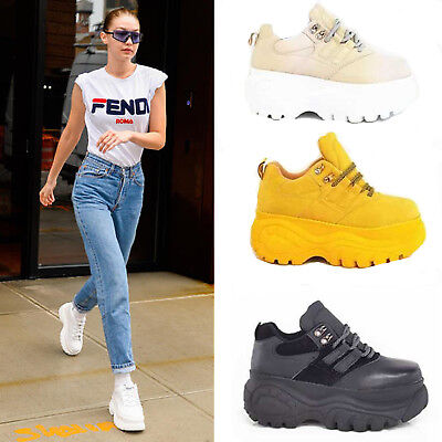 Ladies Lace Up Trainers Chunky Heel