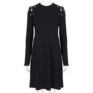 Proenza-Schouler-Black-Rivet-Laced-Sleeve-Dress-L-US8-UK12