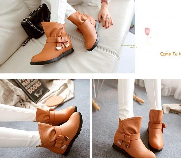 botas invierno alto cómodo zapatos de tacón mujer 5 marrón 8751