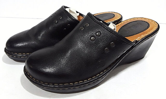 BORN Black Leather Clogs Womens 10