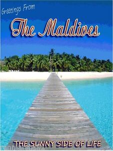 Greetings from The Maldives Islands Ocean Travel Advertisement Art Poster