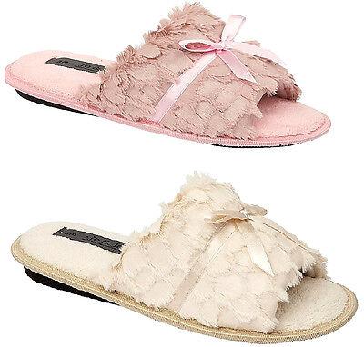 Señoras jo & Joe Fluffy Mula Pantuflas Beige Rosa Comfort 3-8