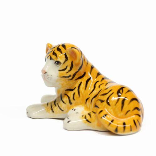 Animals Ceramic Baby Tiger Whelp Figurine Miniature Handpainted