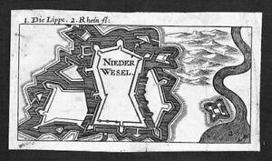 1680-Niederwesel-Wesel-Lippe-Original-Kupferstich-engraving