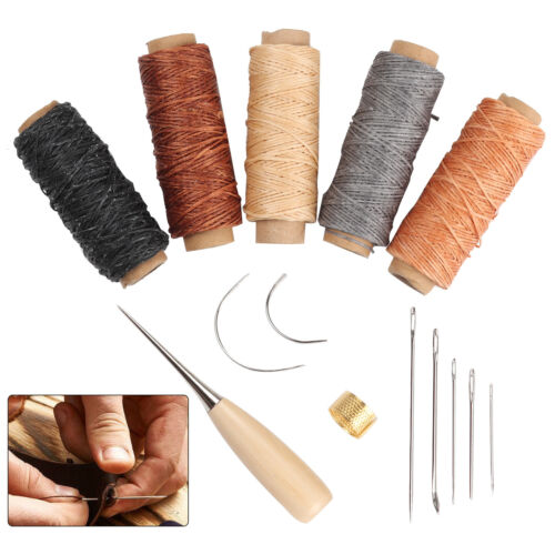 14 Leather Craft Punch Hand Stitching Carving Sewing Tool Thread Awl Thimble Kit