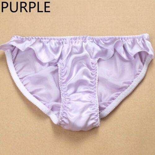 Lady Natural Silk Knickers Briefs Panties Flouncing Ruffle Underwears Underpants