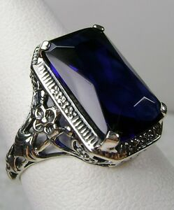 6ct-Blue-Sapphire-Sterling-Silver-Floral-Nouveau-Filigree-Ring-Made-To-Order