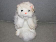 "Ty Classic Cat White Persian Kitty Cat Angel 1997 China Pink Ribbon Bow 12"" Bean"