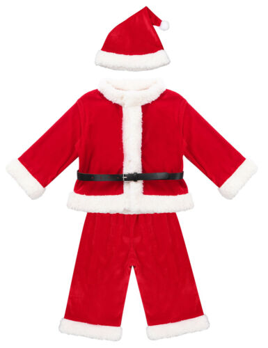 Kids Girl Boy Christmas Costume Santa Claus Xmas Party Fancy Dress Up Hat Outfit