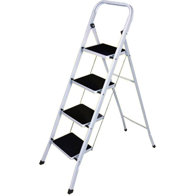 STEP LADDER STEPLADDER SAFETY KITCHEN DURABLE FOLDABLE STRONG NEW NON SLIP TREA