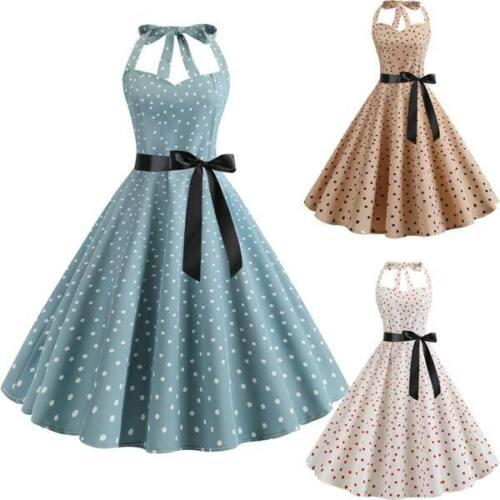 Halter Dress Polka Dot vintage Party Swing Evening Dresses women Retro Summer