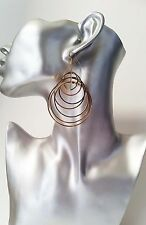 Gorgeous big  gold tone round multi hoop drop - dangle earrings 7cm long, NEW  *