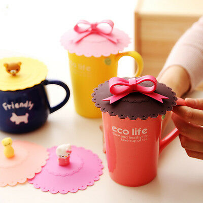 Bowknot Bow Anti-Dust Silicon Mug Cap Cup Glass Lid Leakproof Cover Multicolor