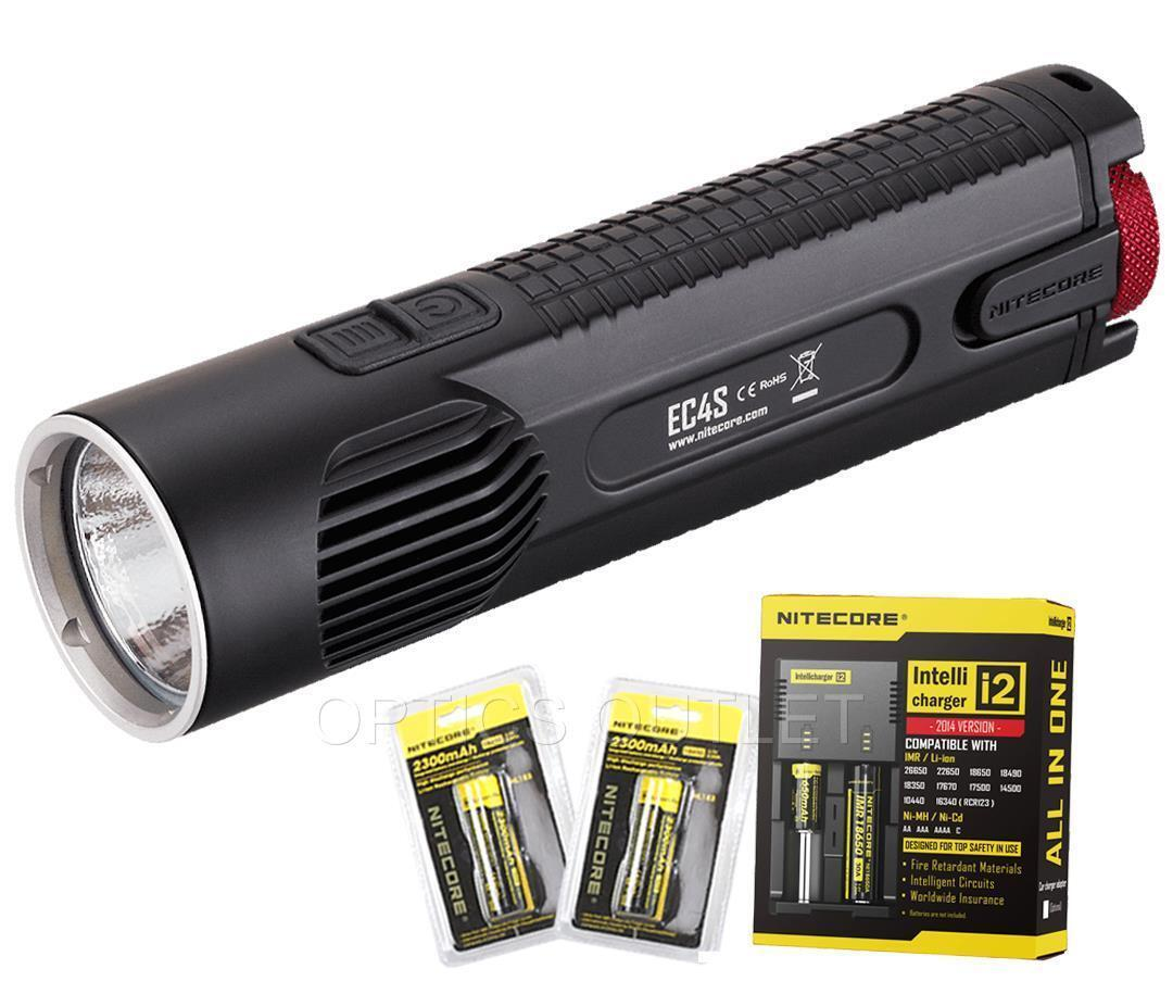 NiteCore EC4S 2150 Lumens LED Flashlight w 2x18650 Batteries & i2 Charger