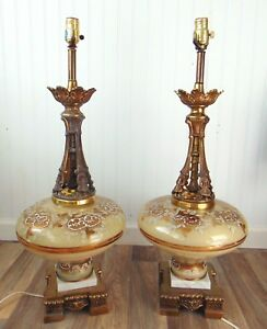 Pair-of-Vintage-Hand-painted-Glass-table-lamps-30-034-tall-Hollywood-Regency