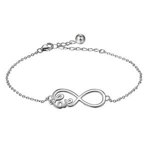 Womens-925-Sterling-Silver-Love-Infinity-Symbol-Bracelet-Bangle-Link-Xmas-Gift
