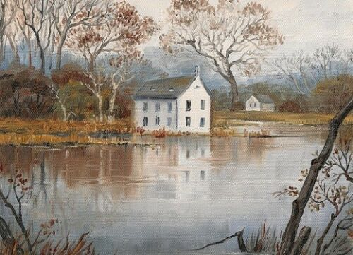 5X7 PRINT OF PAINTING CROW RAVEN RYTA LANDSCAPE HOUSE ART MODERN IMPRESSIONISM
