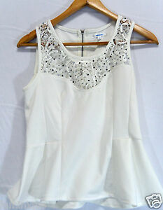 f34363d6175fc9 Details about **VALLEY GIRL** Like New Embellish Peplum Top L 6 8 10 Lace  Gem White Black S M