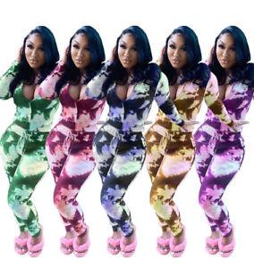 Temperate Women Casual Tie-dyed Print Long Sleeve Zipper Coat+long Pockets Pants Set 2pcs Elegant Shape