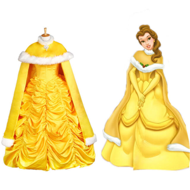 Adult Halloween Princess Belle Costume Beauty and The Beast Fancy Cape Only  sc 1 st  eBay & Adult Halloween Princess Belle Costume Beauty and The Beast Fancy ...