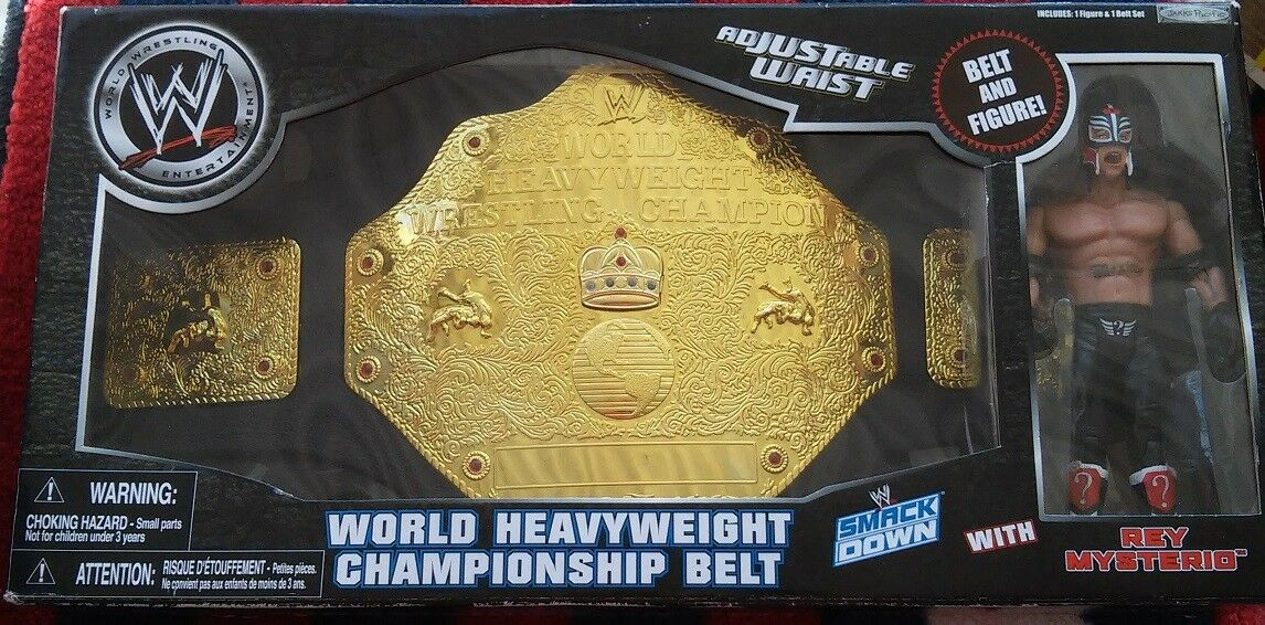 WWE World HeavyWeight Championship Belt and Rey MYSTERIO Set NeW in Sealed Box