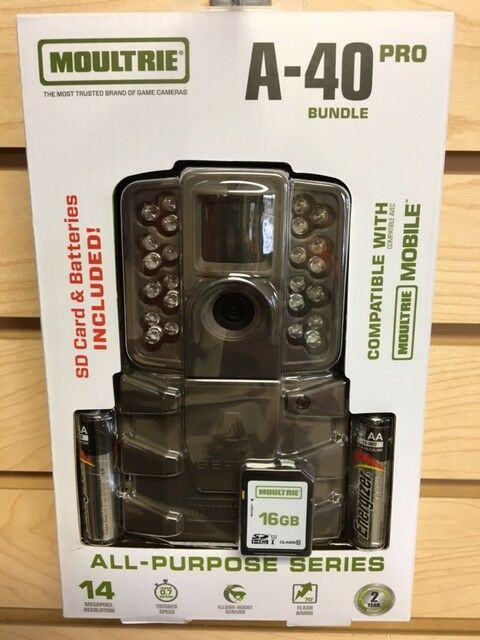 New 2018 Moultrie A-40 Pro Bundle 14 MP Infrared Game Trail Camera W  Extras