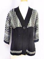 Great Northwest Clothing Women's 3/4 Sleeve Sweater Black White Teal Medium