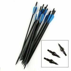 12-Pcs-15-034-Gemischte-Carbonpfeil-Bolzen-fuer-Armbrust-Jagd-Carbon-Pfeil-Blau-weiss